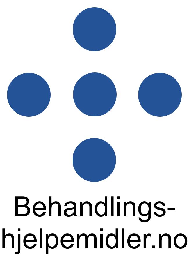 Behandlingshjelpemidler logo stor med hvit bakgrunn og tekst